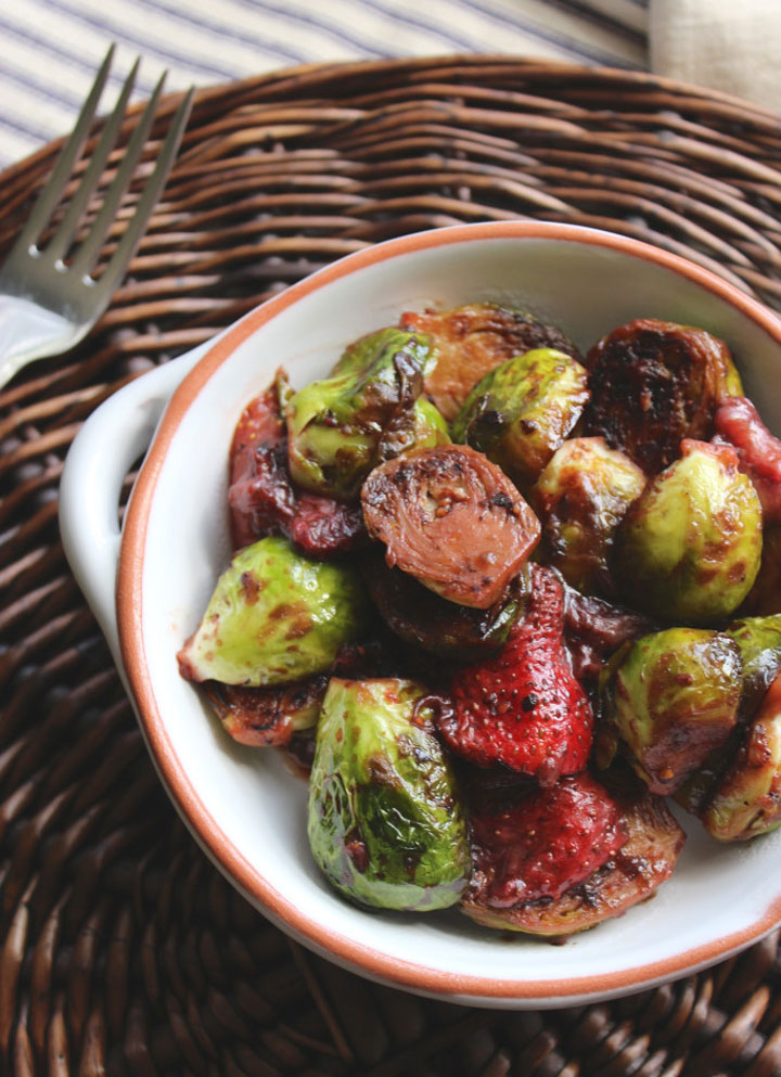 Sauteed Balsamic Brussels Sprouts and Strawberries