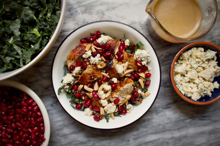 Kale and Quinoa Pomegranate Salad with Maple-Balsamic Dressing