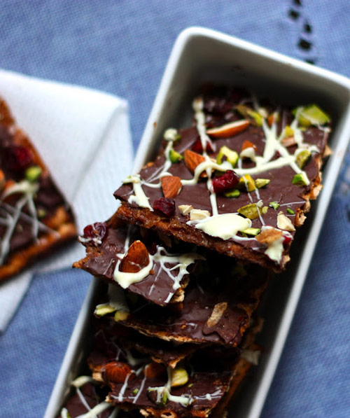 Dark Chocolate-Toffee Matzo Bark with Pistachios, Almonds, and Cranberries