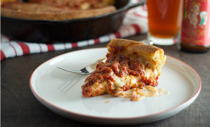 Chicago-Style Deep Dish Pizza from Heather Homemade on NoshOn.It