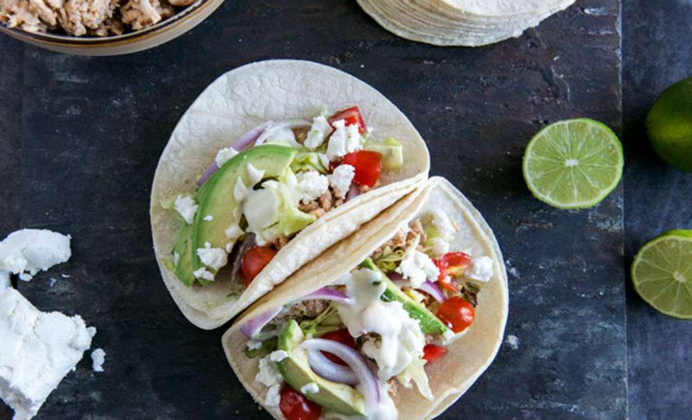 Smokey Roasted Chicken Tacos with Spicy Goat Cheese Queso Recipe
