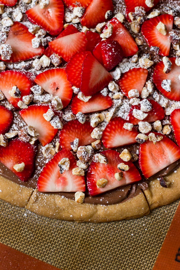 Biscoff Shortbread Pizza with Nutella, Strawberries, and Toasted Hazelnuts