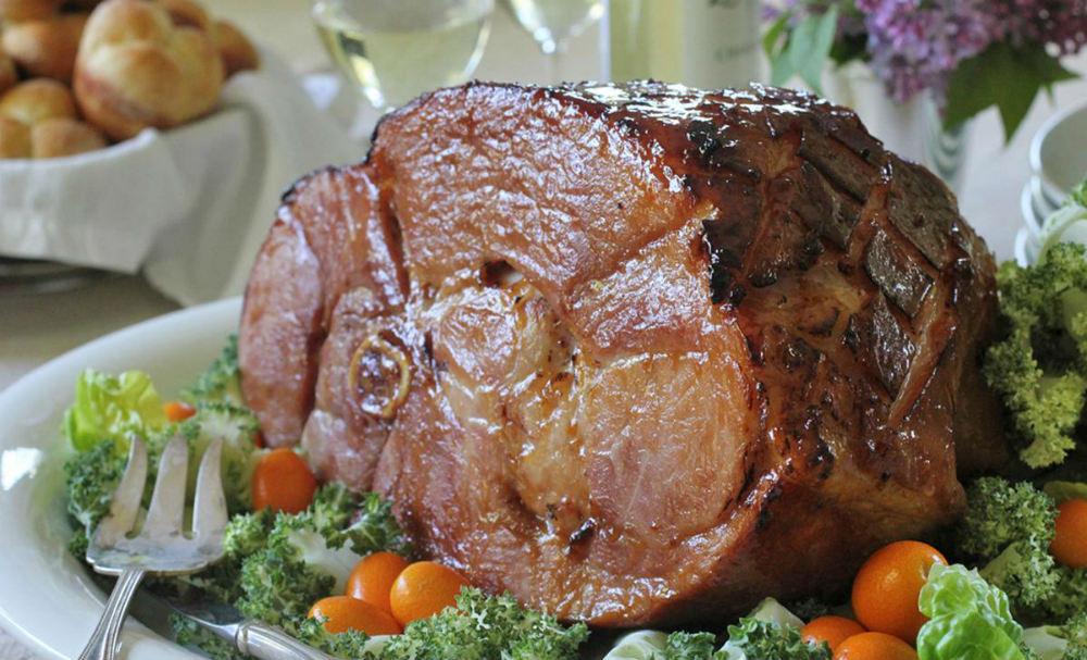 Apricot, Brown Sugar, and Bourbon Glazed Ham