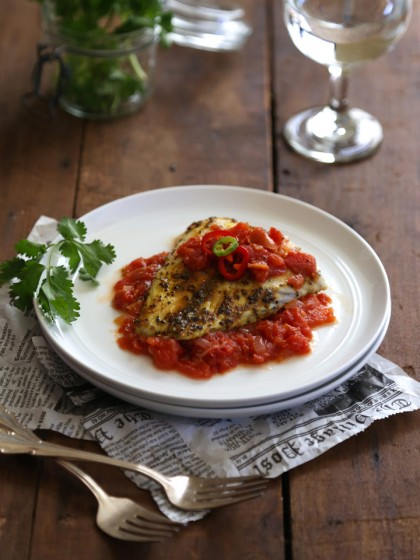 Curry Spiced Barramundi with Tomato Ginger Sauce