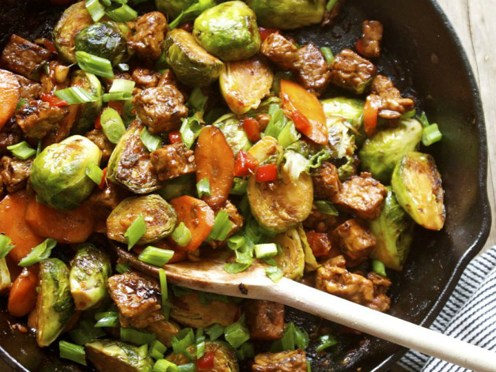 Brussels Sprout and Tempeh Stir Fry | Recipes | NoshOn.It