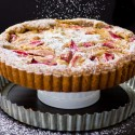 Rhubarb, Bourbon, and Brown Butter Custard Tart with Almond Crust