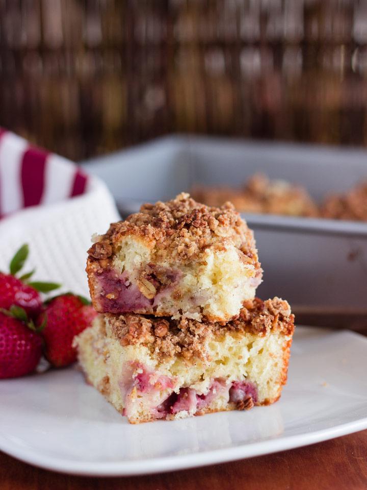 Strawberry Greek Yogurt Coffee Cake with Granola Streusel | Recipes
