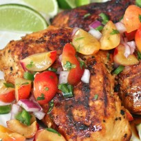 Agave-Lime Grilled Chicken Breast with Fresh Cherry Salsa