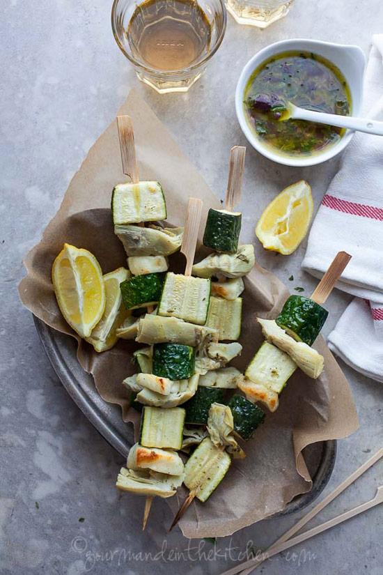 Instead of chicken souvlaki, make these Greek Inspired Vegetable Skewers