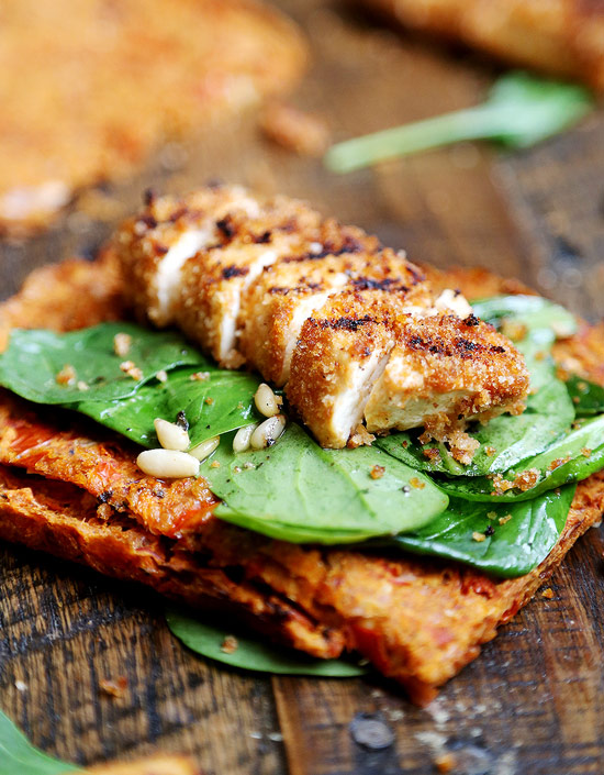 Instead of grilled chicken salad, make these Grilled Breaded Tofu Steaks with Spinach Salad
