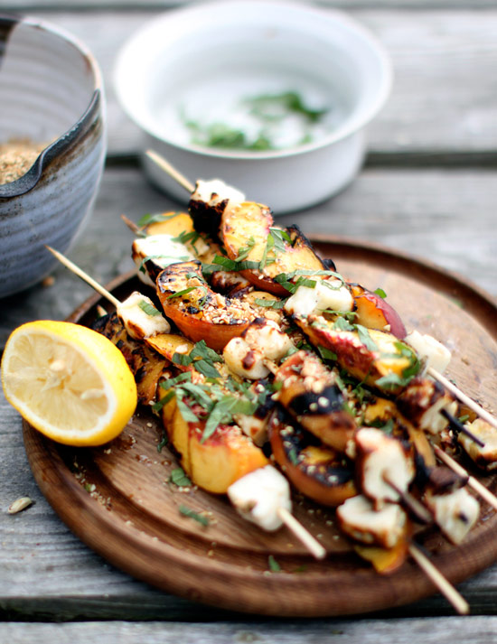 Instead of ham and pineapple skewers, try these Grilled Halloumi and Peach Skewers with Dukkah