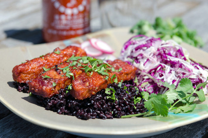 Or these BBQ Sriracha Tempeh ribs with Black Rice