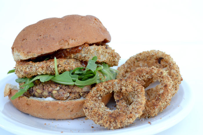 Instead of traditional beef burgers, try this BBQ Bean and Tempeh Burger