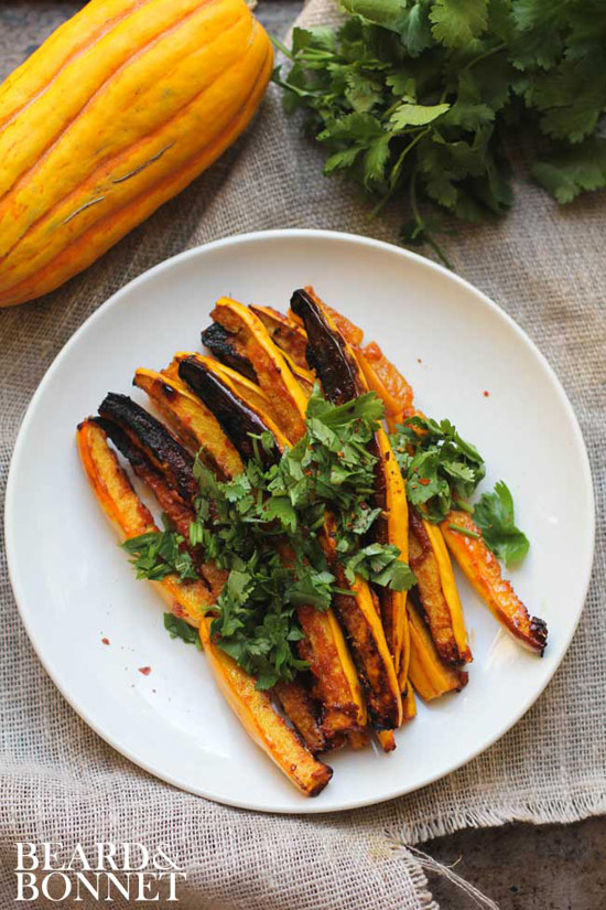 Miso and Red Curry Glazed Delicata Squash Fries