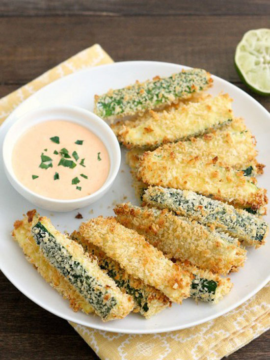 Crispy Baked Zucchini Fries with Sriracha-Lime Mayo