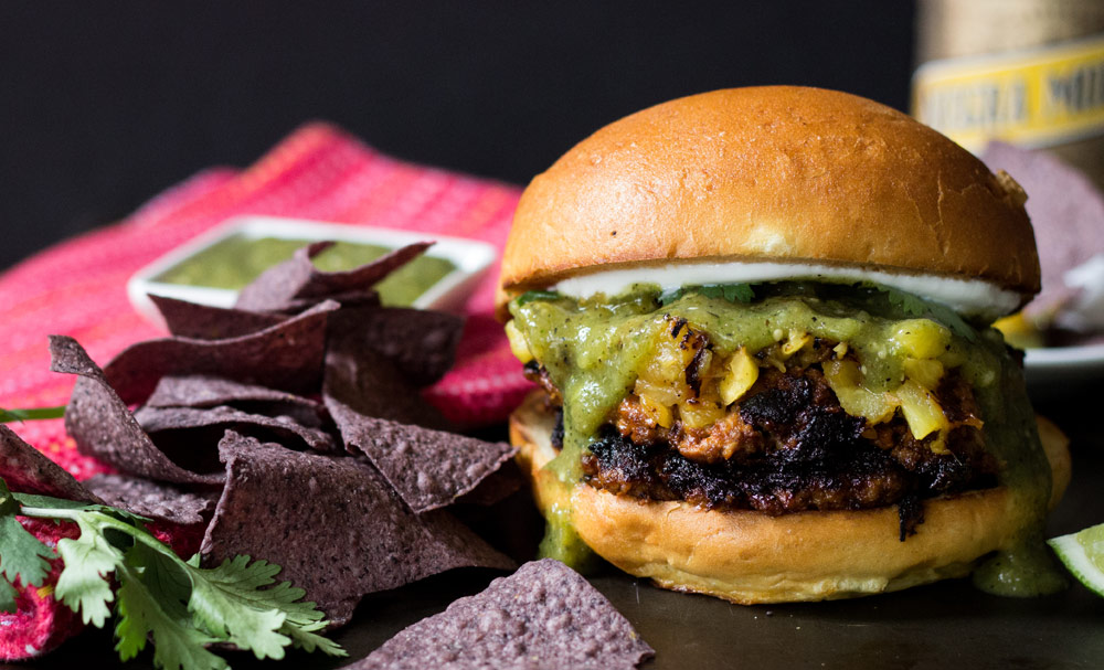 Al Pastor Burger with Roasted Tomatillo Salsa | Recipes | NoshOn.It