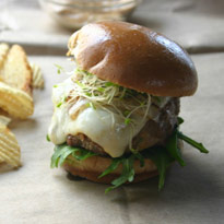 Andouille Slider Burgers with Caramelized Onions and Creole Mayo