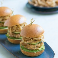 Spicy Ahi Tuna Sliders with Crispy Maui Onion Strings