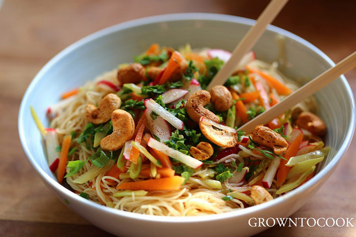 Chinese Noodle Salad with Citrus, Snow Peas, and Spicy Cashews