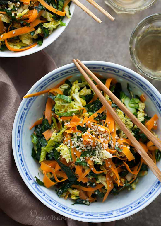 Raw Kale, Cabbage, and Carrot Salad