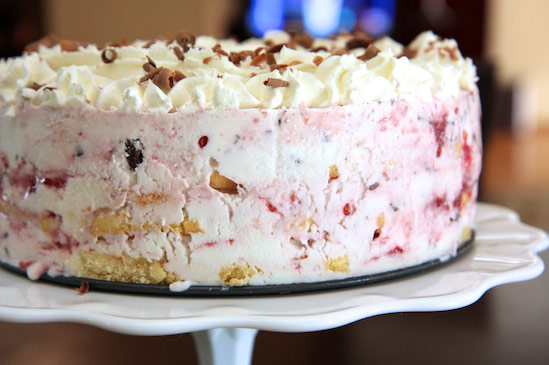 Raspberry and Chocolate Frozen Greek Yogurt Icebox Cake
