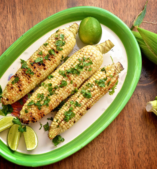 16. Grilled Corn with Ancho Chili Butter and Fresh Lime