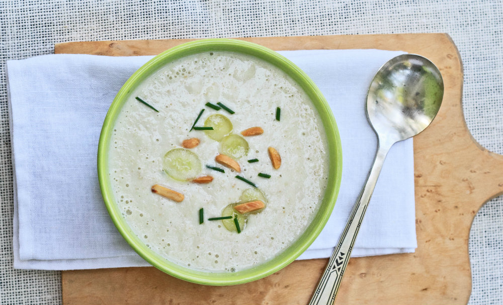 White Gazpacho with Grapes and Almonds | Recipes | NoshOn.It