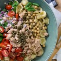 Olive Oil Tuna Pasta Salad with Capers, Chickpeas, and Dijon Vinaigrette