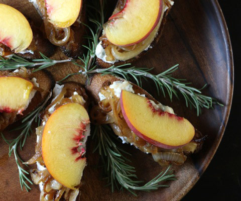 Peach, Caramelized Onion & Goat Cheese Crostini
