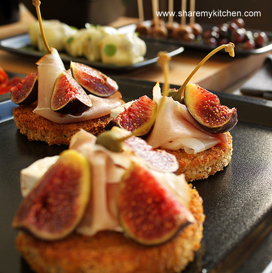 Cheese, Fig, and Ham Tapas