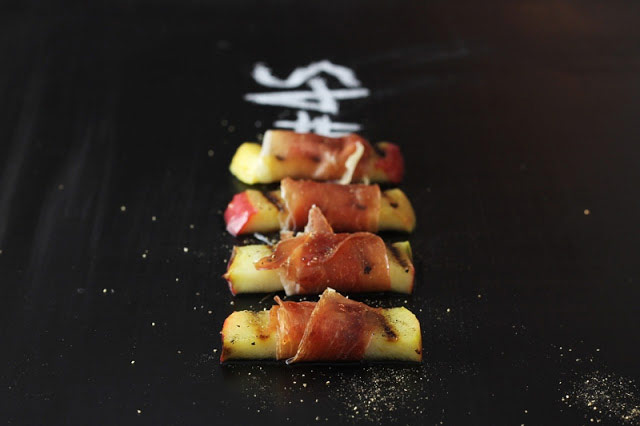 Grilled Apples with Serrano Ham & Maple Syrup