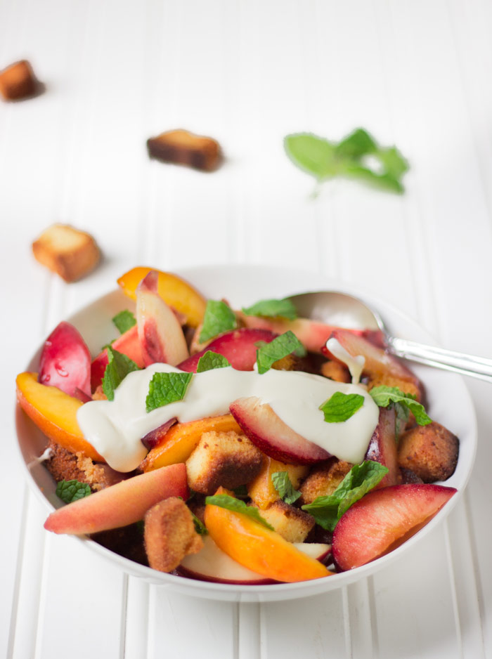 Stone Fruit Panzanella with Pound Cake Croutons and Vanilla Creme Fraiche