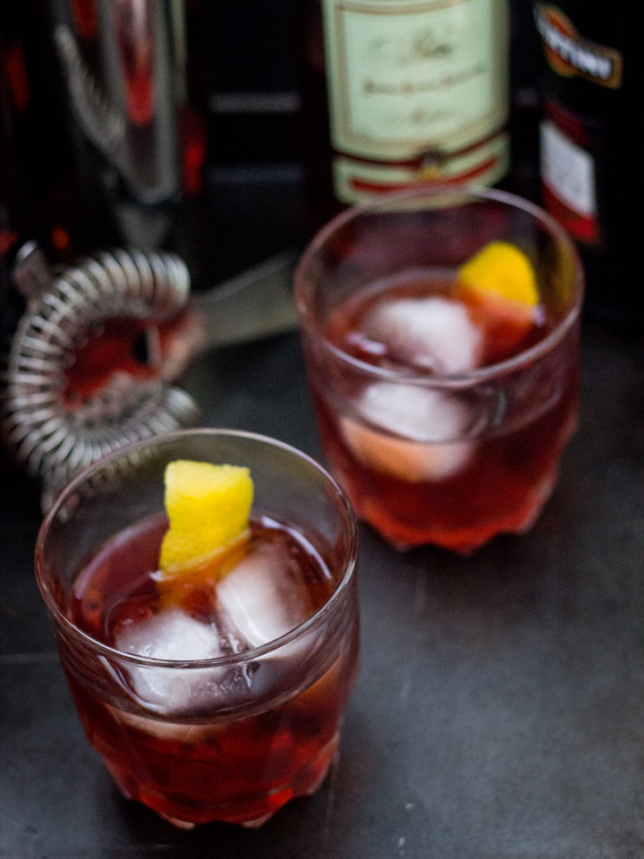 The 1794 Cocktail - a twist on the Negroni with rye whiskey, Campari, and sweet vermouth