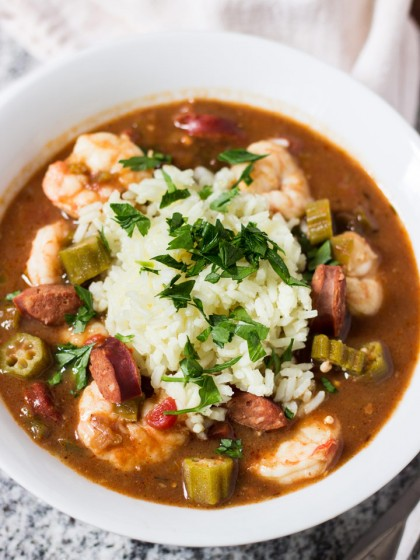 This Shrimp, Andouille Sausage, and Okra Gumbo is like a taste of New Orleans in your own kitchen