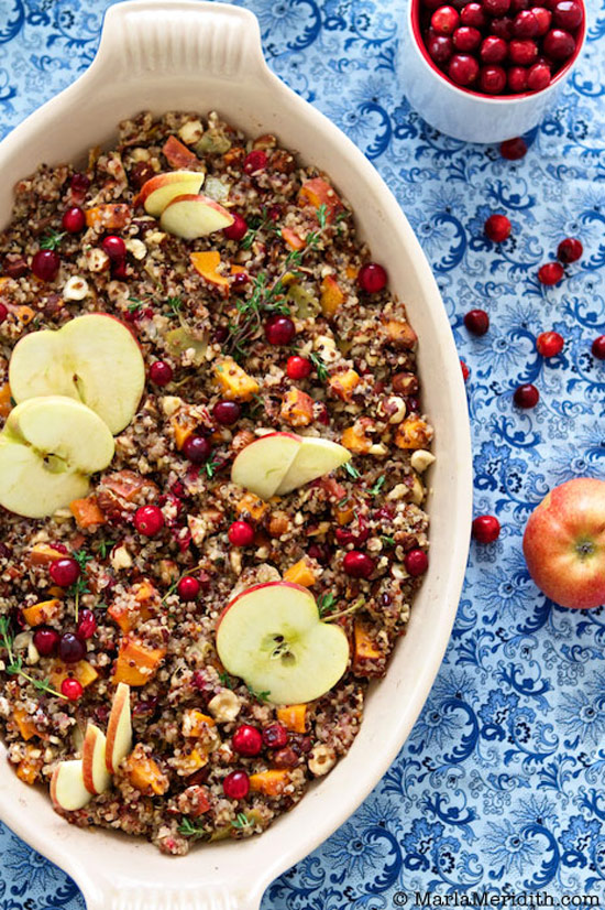Quinoa Stuffing with Apples, Sweet Potato, and Hazelnuts