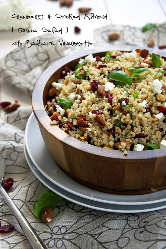 Cranberry and Smoked Almond Quinoa Salad with Balsamic Vinaigrette