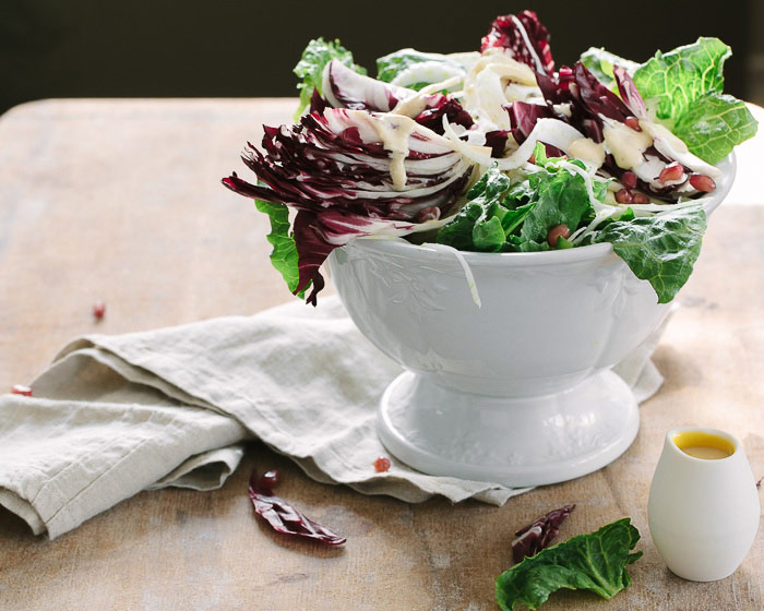 Winter Salad with Lemon Anchovy Cream