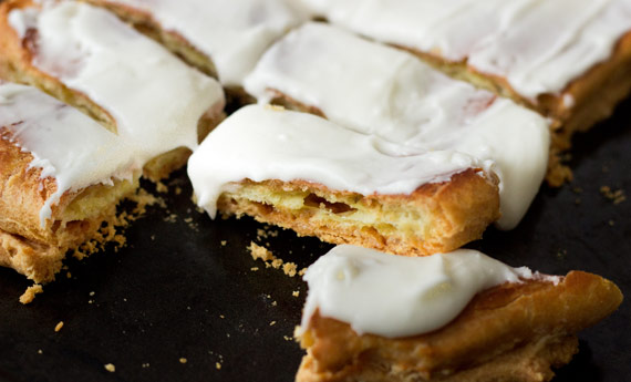 Danish Puffs - a traditional Danish pastry with three distinct layers, a flaky bottom crust topped with puffy pastry and glazed with a sweet, creamy frosting