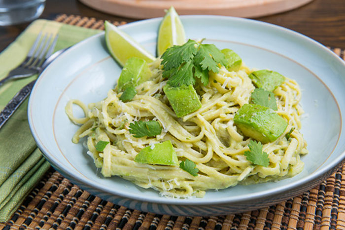 Avocado and Goat Cheese Alfredo Pasta