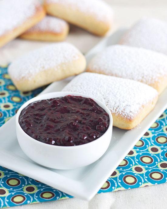 Baked Vanilla Bean Beignets with Blackberry Bourbon Vanilla Jam