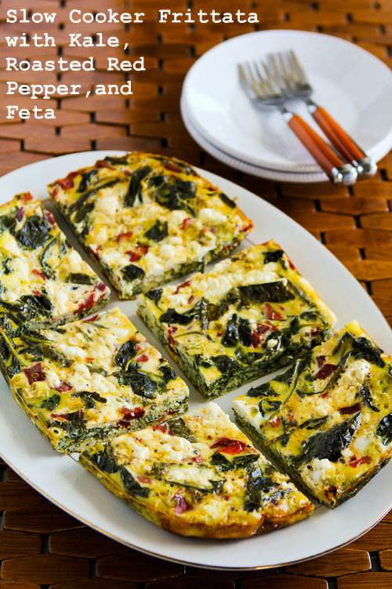 Slow Cooker Frittata with Kale, Red Peppers, and Feta