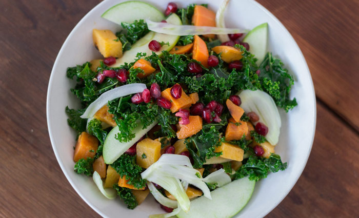 Winter Kale Salad with Kombucha Vinaigrette