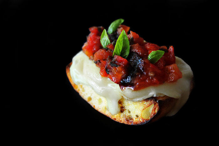 Appetizer: Camembert Bruschetta with Tomato Marmalade