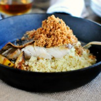 Crispy Skinned Barramundi with Caramelized Lemon and Brown Butter Crumbs