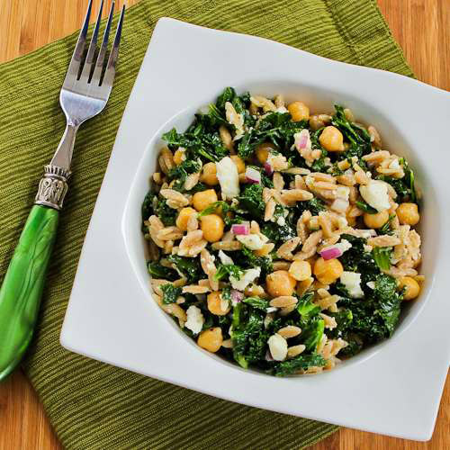 Whole Wheat Orzo Salad with Kale, Chickpeas, Lemon, and Feta from Kalyn's Kitchen
