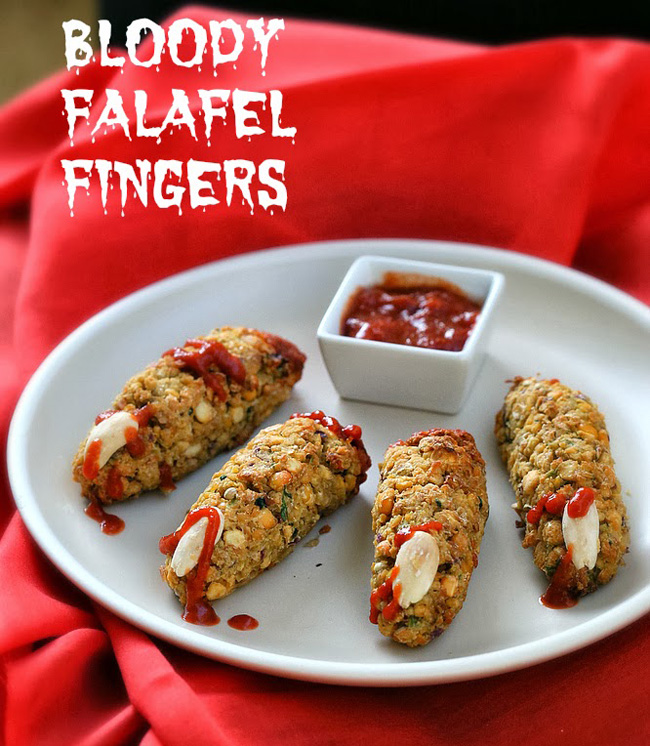 Bloody Falafel Fingers from Vegan Richa plus 10 other Foodie Halloween Projects for Kids