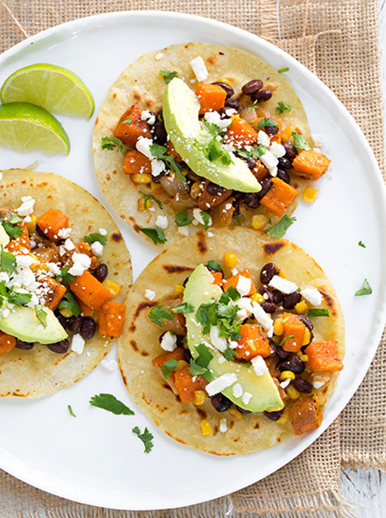 9 vegetarian taco recipes for meatless monday recipes noshon honey lime sweet potato black bean and corn tacos plus 8 other vegetarian forumfinder Images