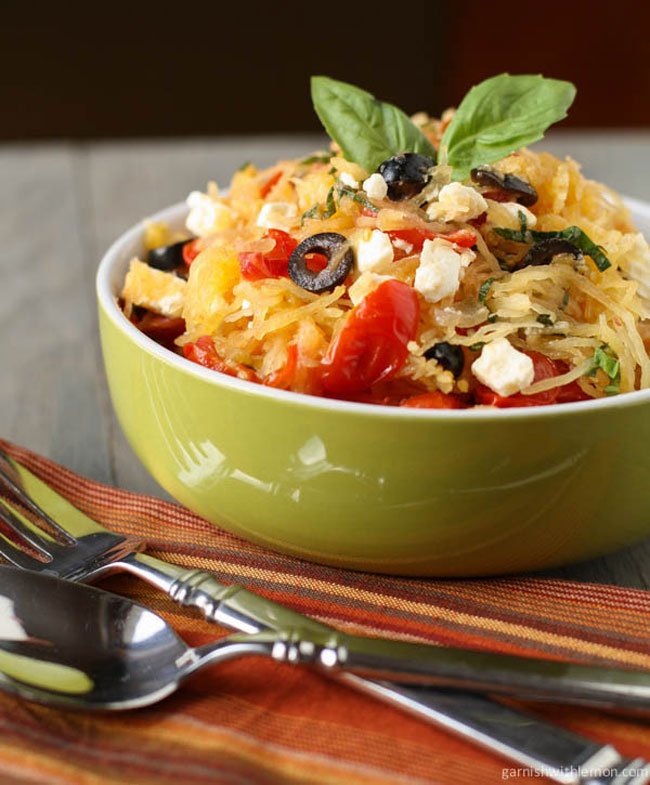 Mediterranean Spaghetti Squash plus 8 other gluten free spaghetti squash recipes