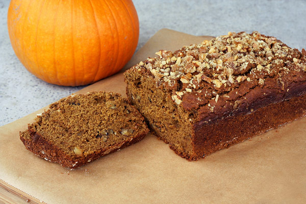 Gluten Free Pumpkin Spice Bread with Crystallized Ginger and Walnuts