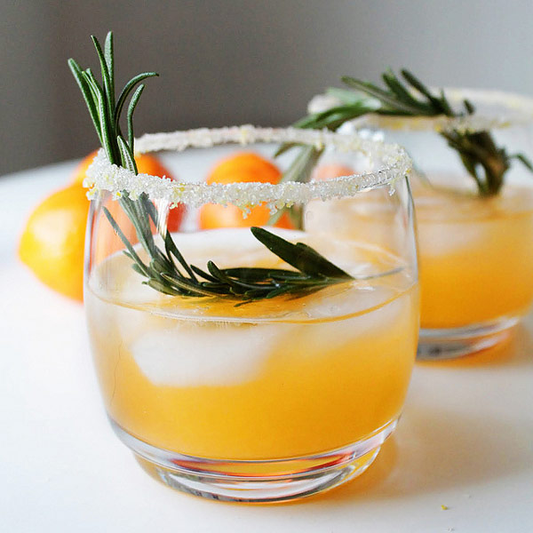 Winter Sun Cocktail with clementine juice, vodka, and rosemary